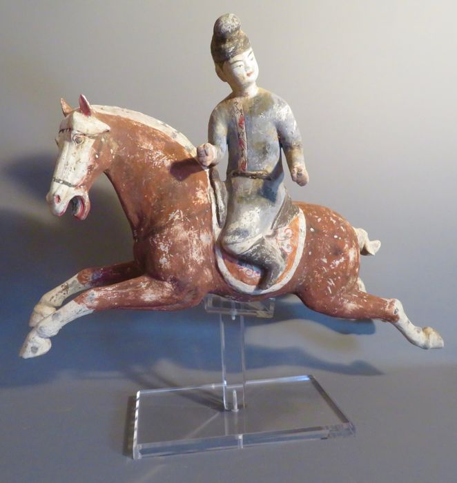 Ancient Chinese Pottery male polo rider - 47 X 43,5CM