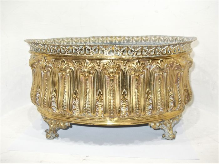 An antique French jardiniere with original inner bin, early 20th century