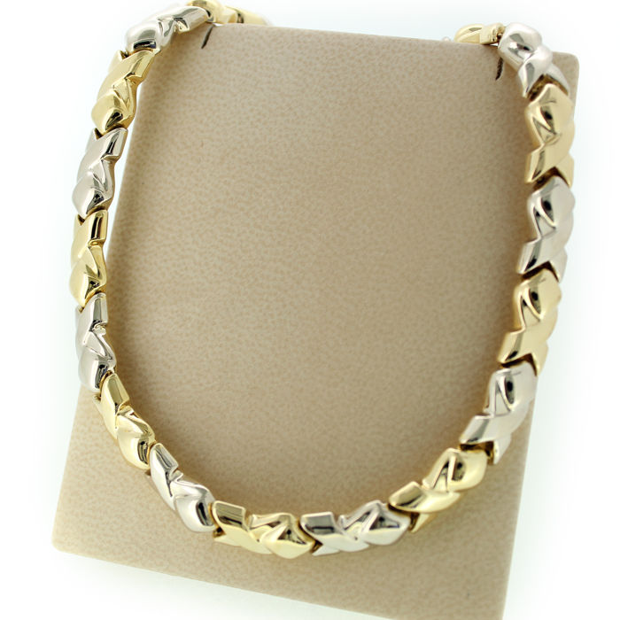 Necklace 18 karat bicolour gold - 44 cm - 41.80 grams