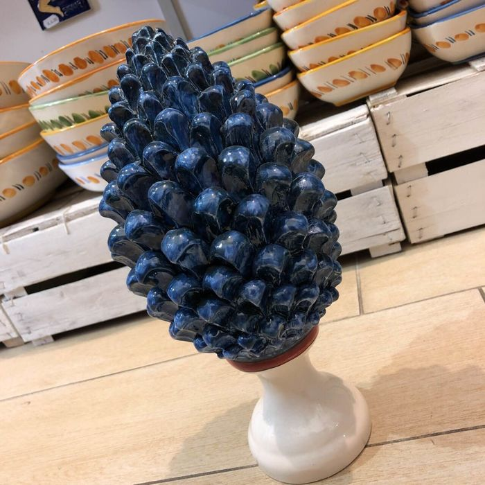 Fine Caltagirone Ceramic Pine Cone, H 30 cm, handcrafted, blue with white base