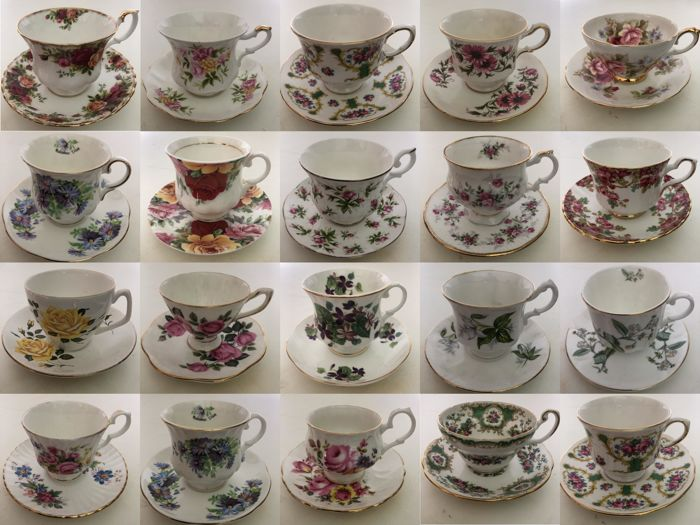 Lot with 20 Luxurious English Cups & Saucers