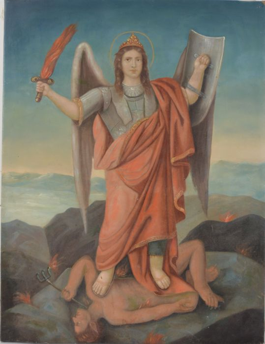 Continental school. (19th century) - Angel with flaming sword defeating Satan