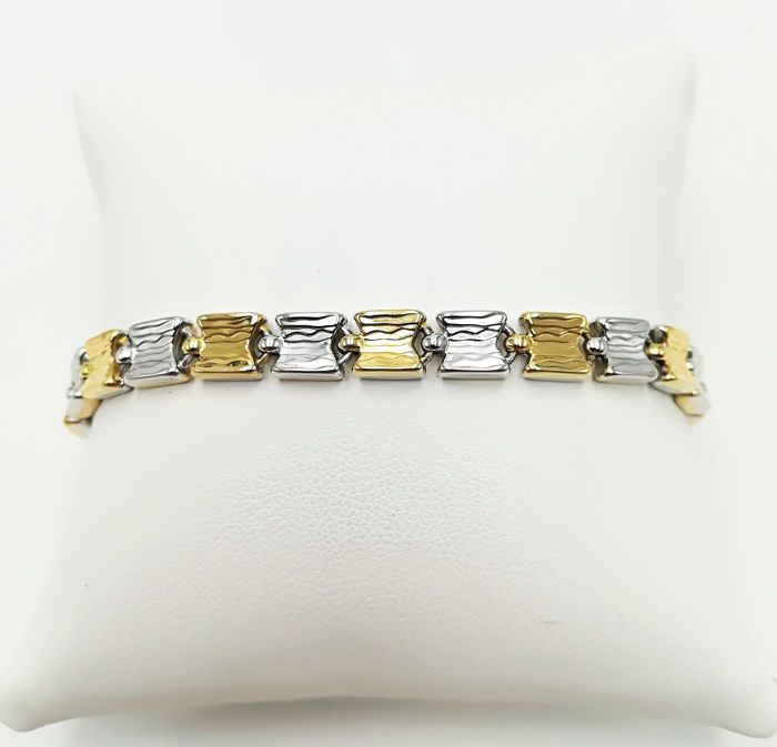 Chimento - 18 kt yellow and white gold bracelet, semi-rigid tooled flat links, length 19.50 cm, total weight  11.44 g