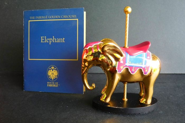 House of Fabergé - Sculpture - The Fabergé Golden Carousel 'Elephant' - Fine Porcelain - 24K gold finish - Certificate of authenticity