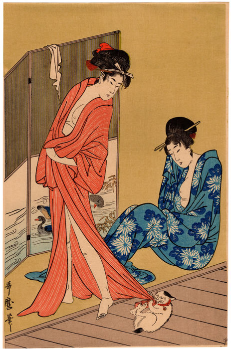 Woodblock print by Kitagawa Utamaro (1753 – 1806) (reprint) - Beauties after a Bath and Cat - Japan - ca. 1920s