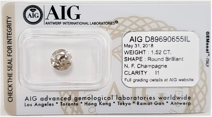 1.52 ct - Natural Fancy Diamond - Champagne Color - I1 - EX/EX/EX - NO RESERVE!