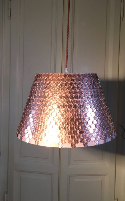 "Unusual ""Rich"" Ceiling Lamp ( handmade with 1 cents coins) Italy 2010"