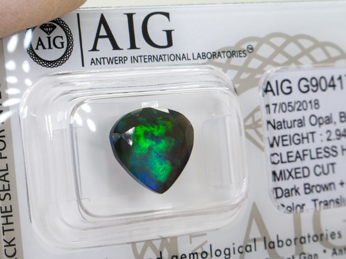 Natural black opal - 2.94Ct - Vivid play of colours -  No reserve.