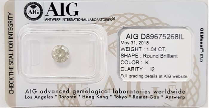 1.04 ct - Natural White Diamond - K Color - I2 - VG/G/VG - NO RESERVE!