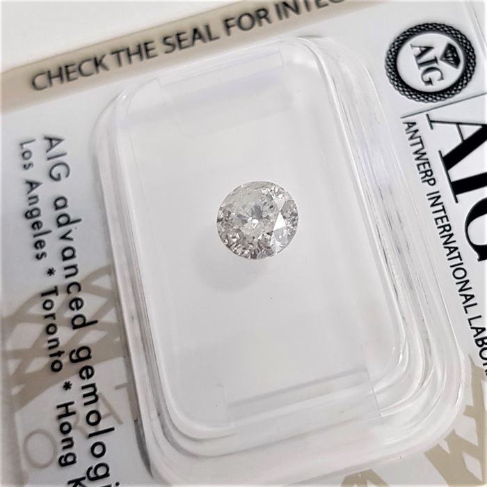 0.71 ct - Natural White Diamond - F Color - I2 - EX/EX/EX - NO RESERVE!