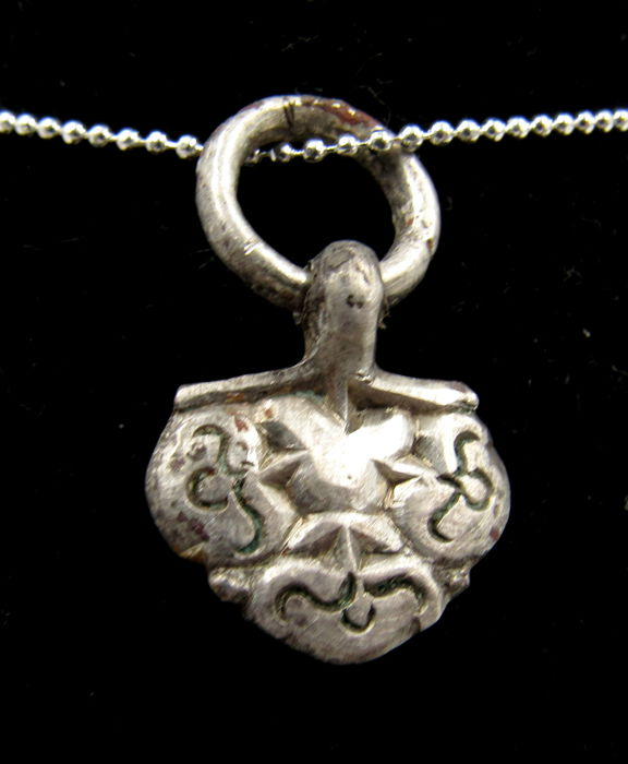 Medieval Viking Era  Zilver Floral Pendant with RIng - 2.7cm