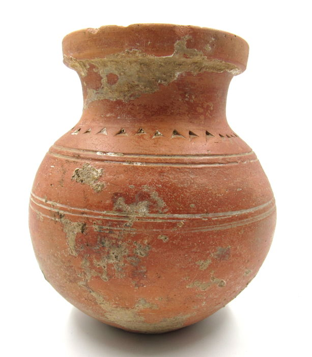 Ancient Roman Legionary Terracotta Redware Jar - 10x5.2cm