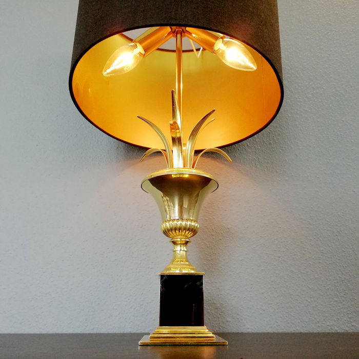 S.A. Boulanger - Palm D'or or Vase Roseaux Table Lamp