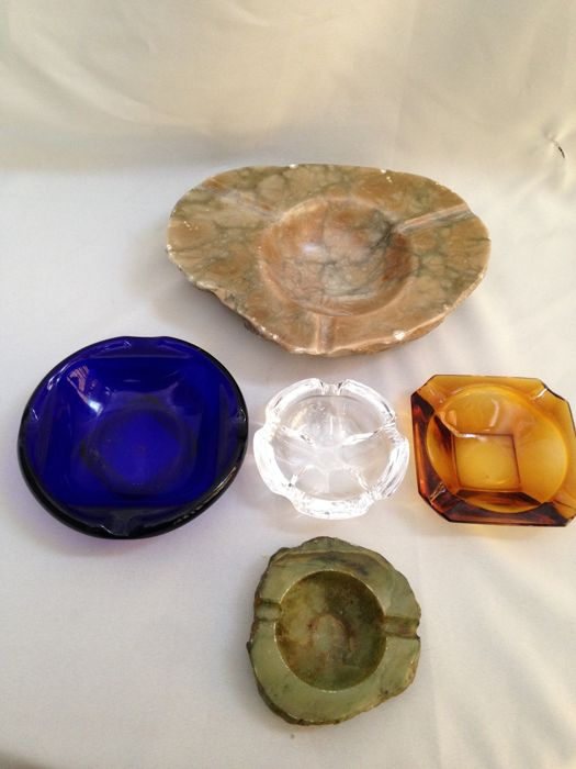 Large Heavy Solid Marble Ashtray - 2 Colored Glass Ashtrays - 1 Crystal Ashtray - 1 Solid Green Marble Ashtray