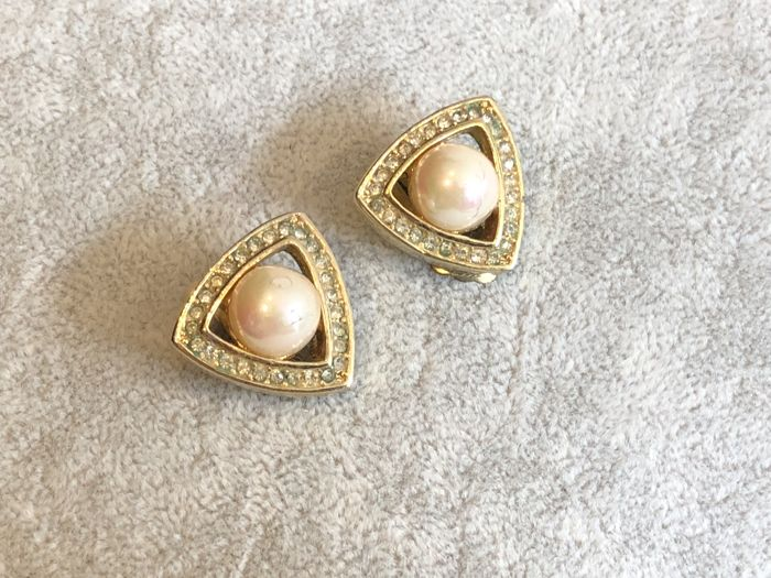 1970's fully signed Christian Dior pearl gem set earrings