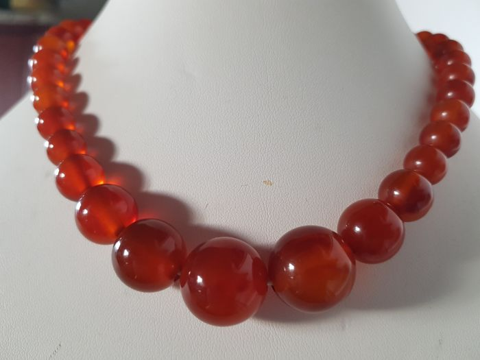 Antique Art Deco necklace with vintage cherry red amber Bakelite