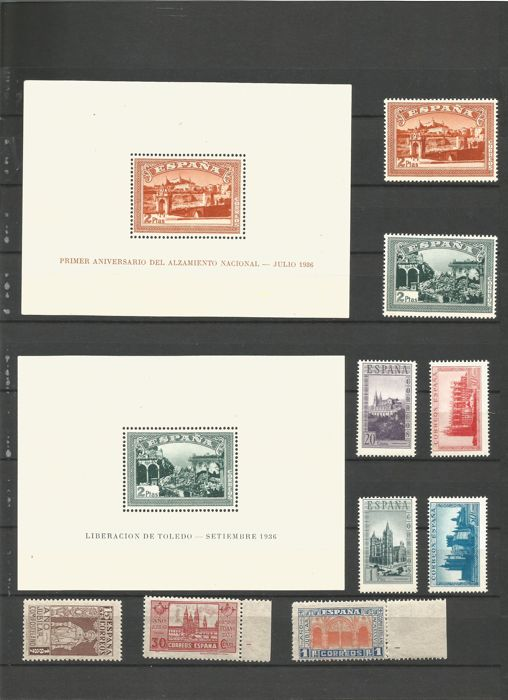 Spain 1937/1938 - Stamps and series of the Spanish State - Edifil 833/835, 836/837, SH836/837 y SH847
