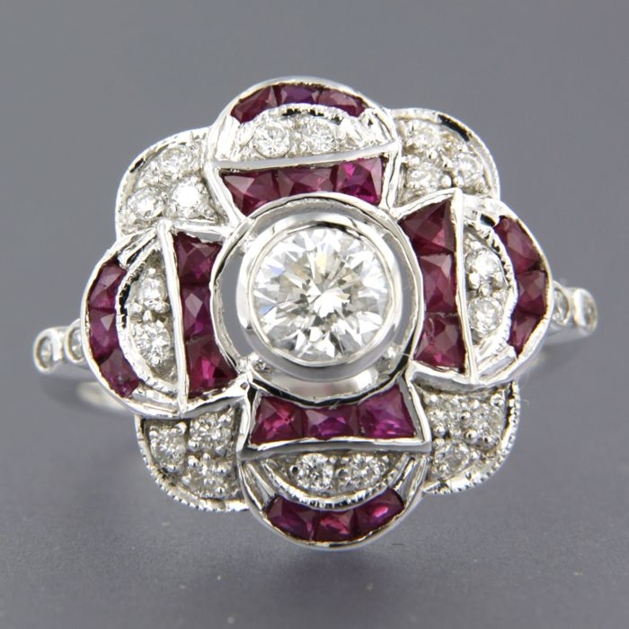 - no reserve price - 14 kt white gold ring set with ruby and 25 brilliant cut diamonds of approx. 0.75 ct in total