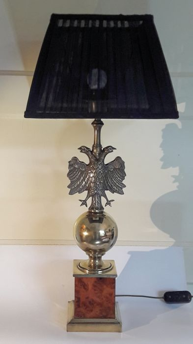 Large Brass Table Lamp Double Headed Eagles On A Brass Globe