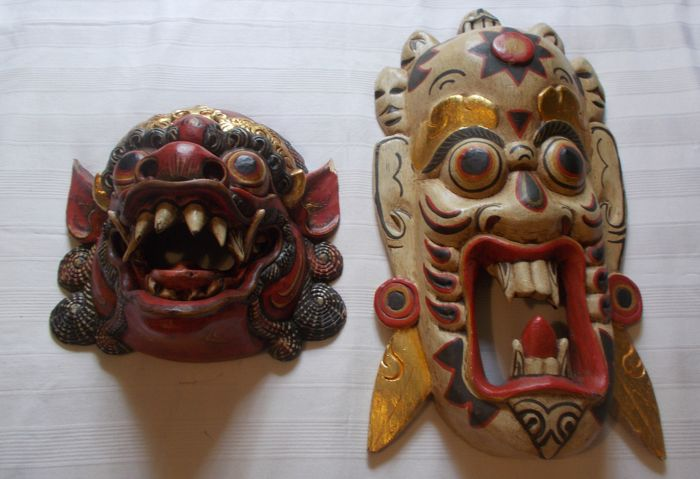 2 masks - Bali, Indonesia - Second half of the 20th century