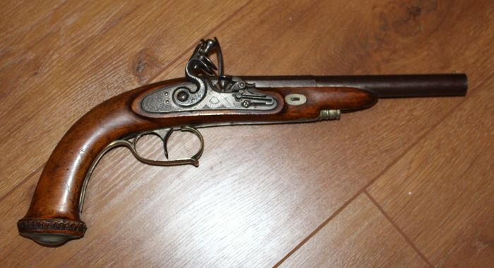Flintlock pistol damas barrel and silver 1850 scholberg & gadet