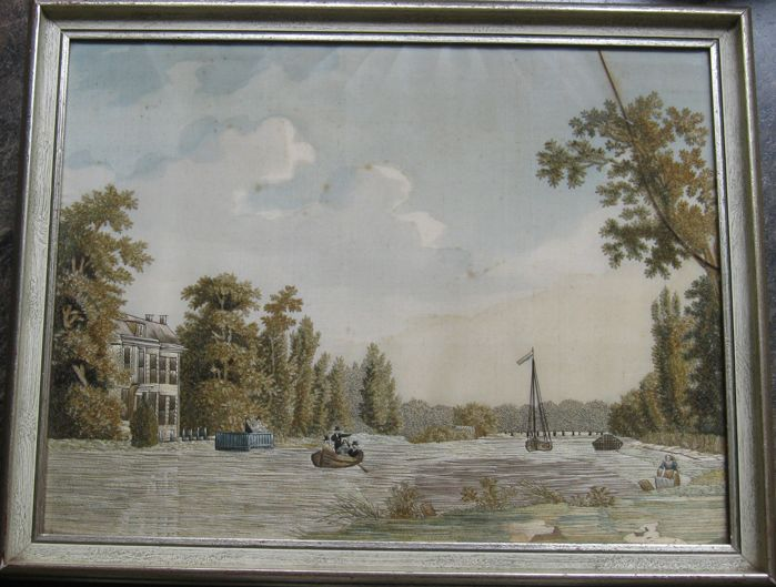 "A fine embroidered and painted silk ""fil de soie"" picture: probably view of Huis Over-Holland along the river Vecht,  Netherlands, second half 19th century"