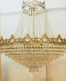 Vintage chandelier style ceiling lamp in bronze and rock crystal