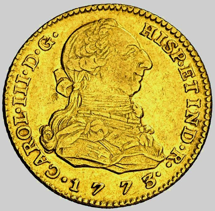 Spain - Carlos III. 2 Escudo .1773 (6,70 g 21 mm). Madrid. Ensayador P.J.  - Gold