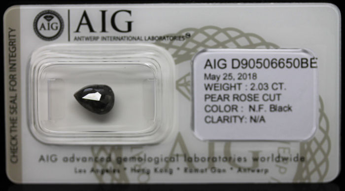 2.03ct. Certified Natural Fancy Black Diamond - NO RESERVE