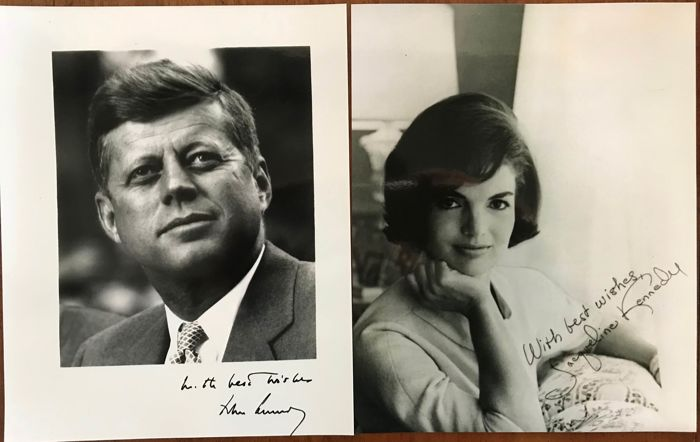 President Kennedy and First Lady Jacqueline Kennedy signed photo's
