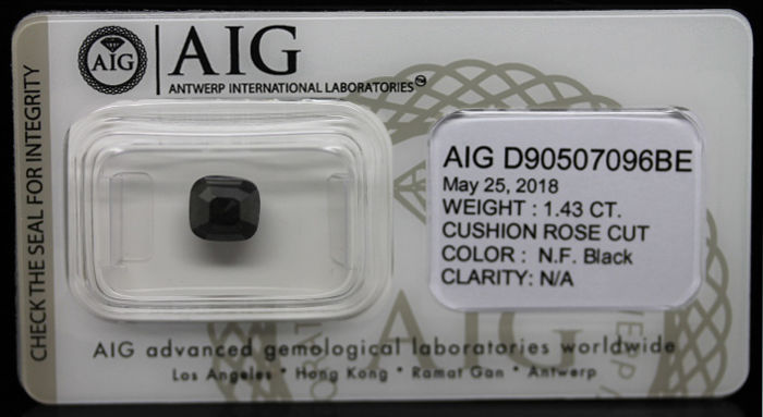 1.43ct. Certified Natural Fancy Black Diamond - NO RESERVE