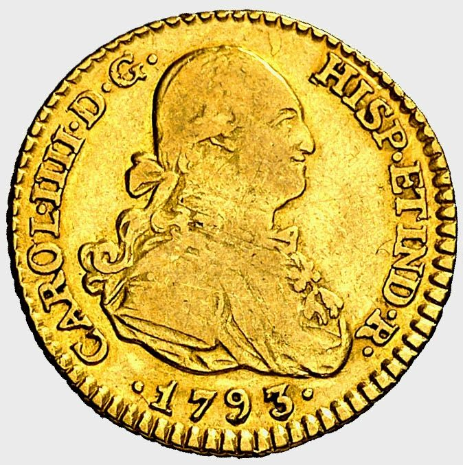 Spain - Carlos IV. Escudo .1793 (3,40 g 17 mm). Madrid. Ensayador M.F.  - Gold