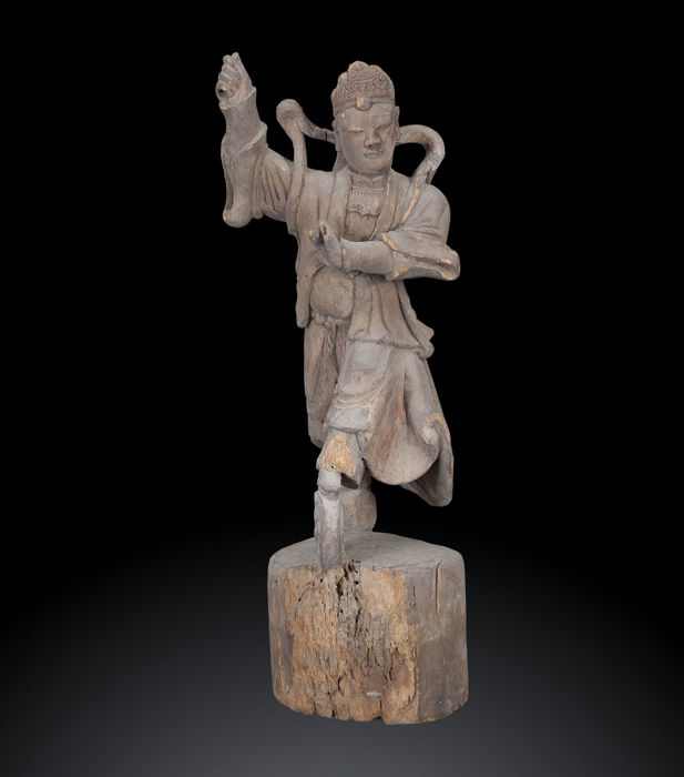 Chinese wooden sculpture - Martial Arts Master - 19th Century