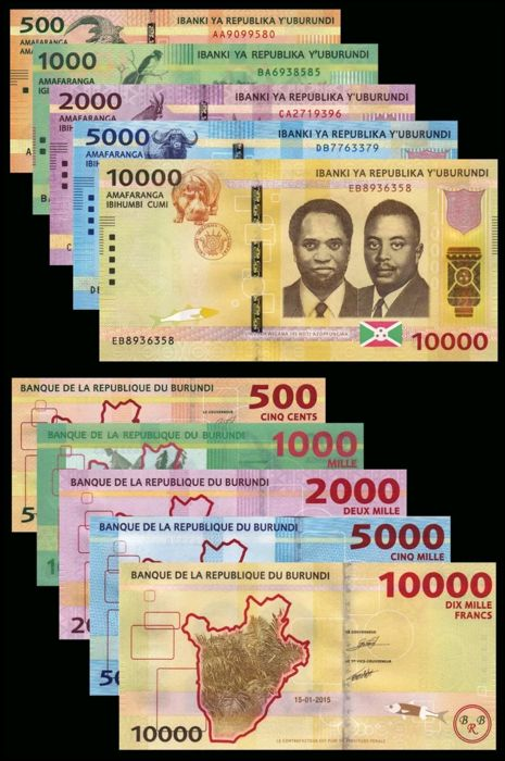 World - Ethiopia 5, 10, 50, 100 birr and Burundi 500, 1000, 2000, 5000 and 10000 francs