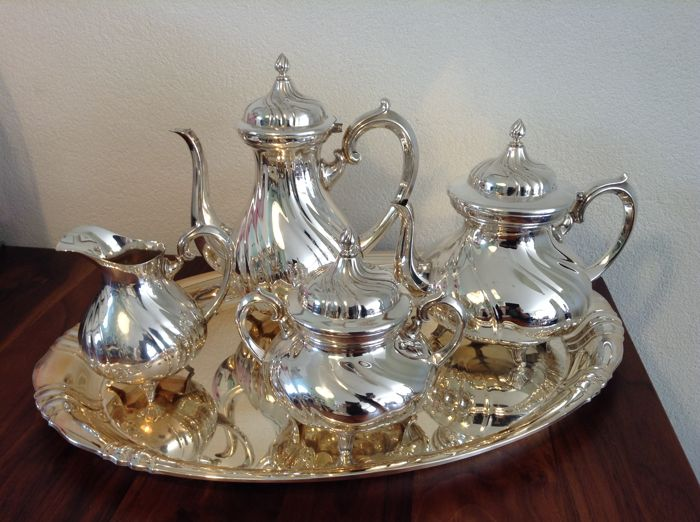 W.M.F.  NS, 5- pieces silver plated twisted tea and coffee set. Late 20th century.