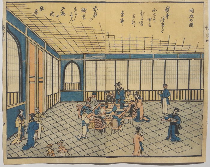 Original double sheet coloured wood carving print by Utagawa Hiroshige II (1829-1869) - green houses in the entertainment district of Yoshiwara - Japan - ca. 1860