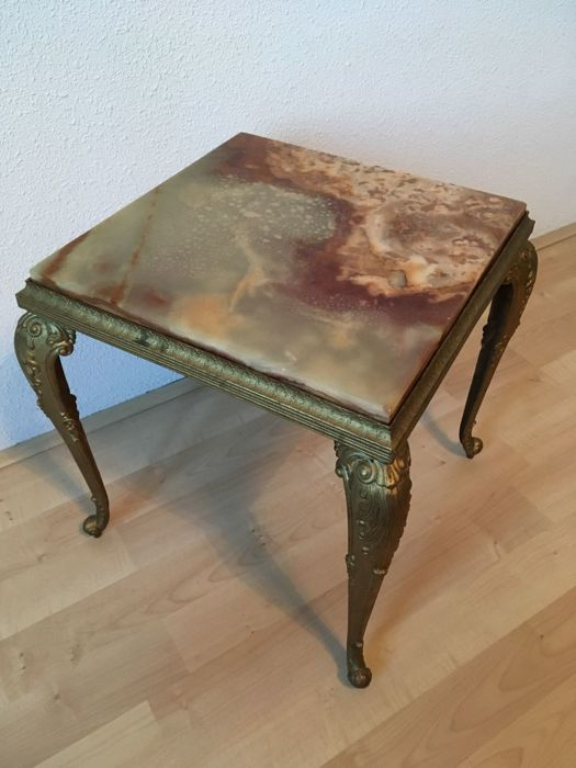 Vintage Copper Side Table Square With Onyx Tabletop St Half Of - Square copper coffee table