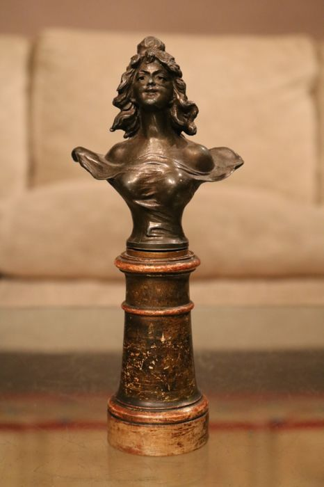 Pewter Art Nouveau bust on wooden base