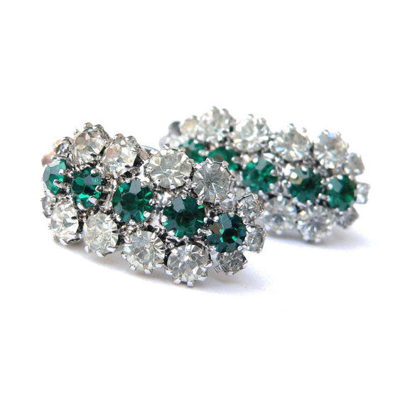 Kramer early Dior shaped emerald crystal vintage - pendientes de clip - Vintage
