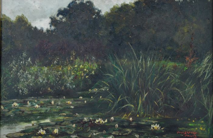 J. Edward Homerville Hague. (19th/20th century) - The lilly pond