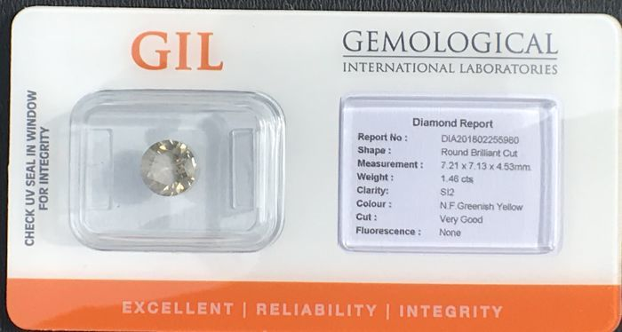 Diamond, natural fancy for 1.46 ct, yellow-green, brilliant cut, SI2