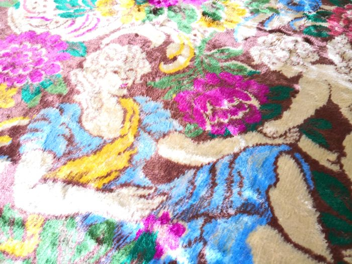 Venetian Brocade - perfectly preserved cloth made of old corduroy fabric - dimensions 224 x 176