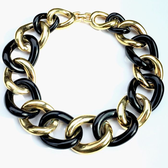 Givenchy - XXL Gold black link collar Necklace - 1980s - Vintage