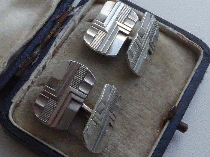 A pair of double antique silver Art Deco cufflinks - Netherlands