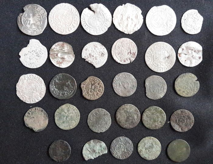 Germany, Lithuania, Poland, Sweden - Late Medieval Coins Collection: AE 15-18 century - Silver