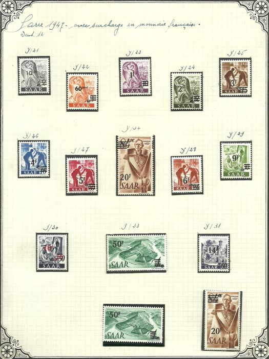 Sarre 1947/1950 - Stempel collectie