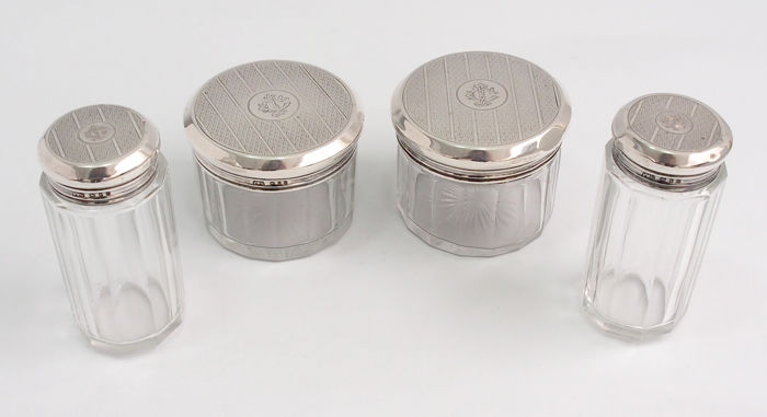 Cosmetic Jars with Sterling Silver lids - .925 silver - Nagy-Britannia - 1920