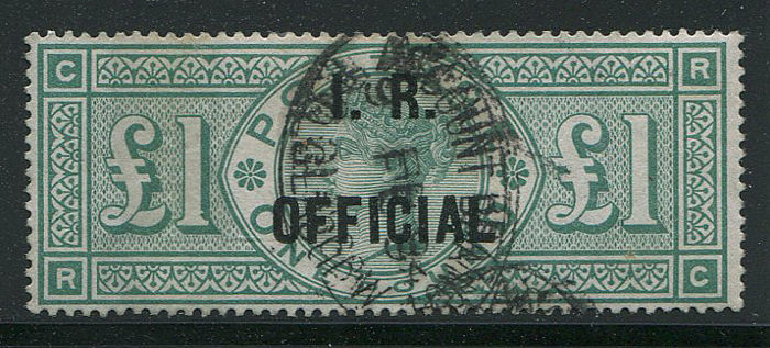 Great Britain - England 1892 - £1 green IR OFFICIAL - Stanley Gibbons O16