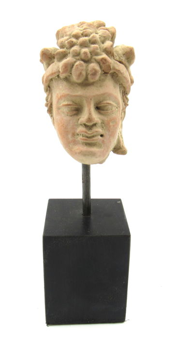Gandhara Terracotta Buddha Head Statue with Stand - 7.8cm