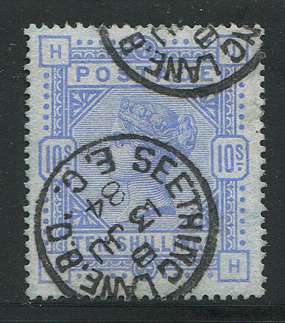Great Britain - England 1884 - 10 shilling Cobalt on blued paper - Stanley Gibbons 177a
